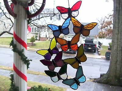 Stained Spring time Butteflies  Suncatcher (Real Glass)