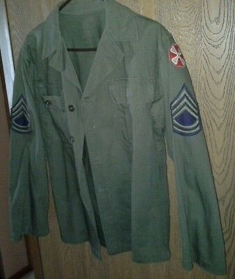 Vintage 1950's ARMY Shirt/Top Excellent & Super Clean - Approx Size:Med. (Khaki)