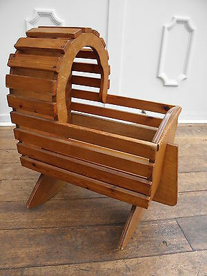 'One Off' Vintage Homemade Large Wooden Rocking Dolls Cradle Crib Cot Bed Toy
