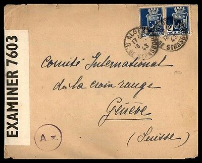 Algeria 1943 Cancels On Censored Cover With Pair To Geneve