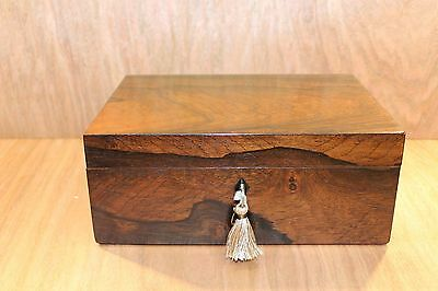 Lovely 19C Figured Rosewood  Antique Document/jewellery Box - Fab Interior
