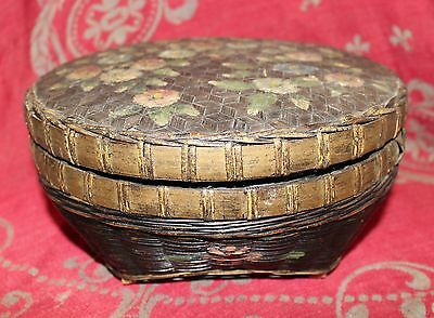 Antique Victorian Sewing Box Hand-Painted Folk Art with Sewing Notions Tools