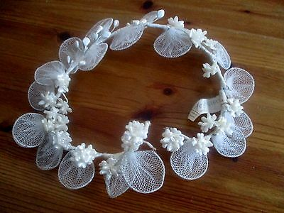 Original Vintage 1960's Bridal Wedding Headdress- Wax Flowers.