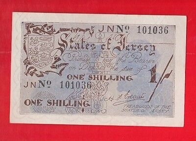 Jersey banknote, German occupation WW11, rare 1/- Shillings. No.101036