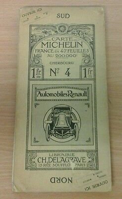 Vintage French Michelin Map Cherbourg Cloth Format No4