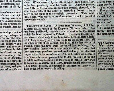 JEWS IN WARSAW Jewish Judaica Poland Given Rights for Land 1848 Old Newspaper