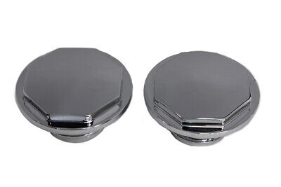 Chrome Button Head Hexagon Vented and Non-Vented Gas Cap Set fits Harley Davi...