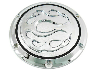 Chrome 6-Hole Flame Derby Cover fits Harley Davidson,V-Twin 42-0468