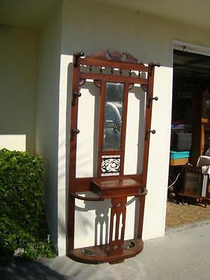 Amazing Antique 1860's Hall Tree/Stand w/Beveled Mirror- Very sturdy.