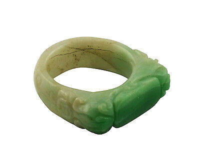 Fine 19thC Antique Chinese Carved Jade Saddle Ring