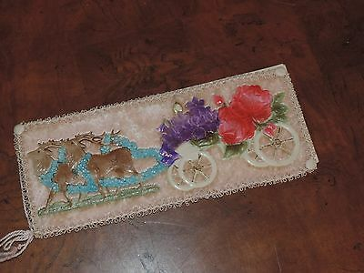 Antique Celluloid Birthday Greeting Card w/ Reindeer (e241)