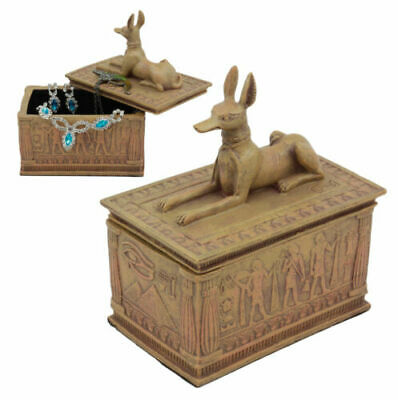 """Small Eye Of Horus And Anubis Dog Egyptian Jewelry Box In Sandstone Finish 4.5""""H"""