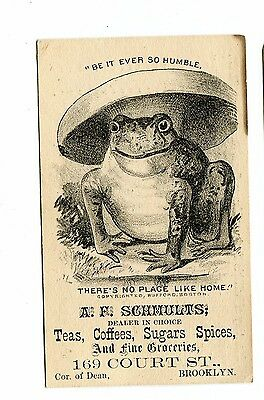 Victorian Trade Card AF SCHMULTS Tea Coffee Sugar Brooklyn NY Business Directory