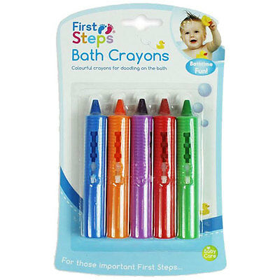 First Steps 5 Baby Bath Crayons Non Toxic Fun Play Creativity Toys Washable Tub