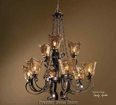Old World Tuscan 9 Light Chandelier Heavy Glass Globes