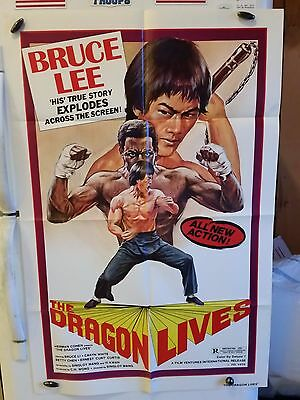 The Dragon Lives 1979 Original 1 Sheet Movie Poster Ex+ Condition Bruce Lee !!