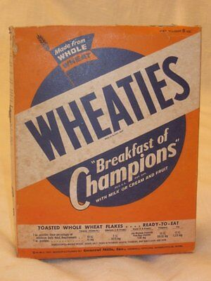 Vintage 1940s 1947 Wheaties Cereal Whole Box W/Horse Racing Sulky Cut-Outs