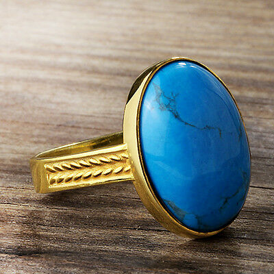 Men's Ring SOLID 10K GOLD with NATURAL Blue TURQUOISE Gemstone Pinky Ring all sz