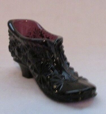 Vintage Glass Slipper Shoe Salt Dip Cellar (Dark Amethyst Purple)