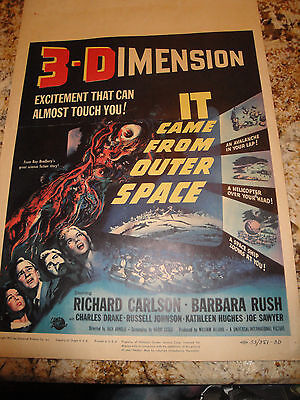IT came from outer space 3D original 1953 window card poster ray bradbury story