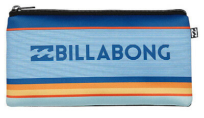 Brand New + Tag Billabong Neoprene Pencil Case Blue Orange Kids School Uni
