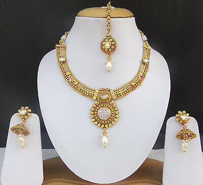 Indian Bollywood Designer Gold Plated Bridal Fashion Jewelry Necklace Pearl Set