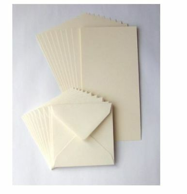 "50 x 6"" x 6"" IVORY BLANK CARDS 225gsm & ENVELOPES 100gsm CARD MAKING CRAFT 600"