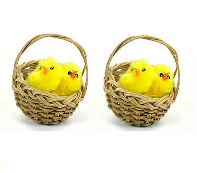 4 Easter Chenille Chicks In 2 Wicker Baskets Bonnet Cake Craft Egg Decoration