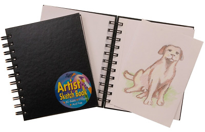 A6 SPIRAL BOUND SKETCH BOOK 80 PAGE 110gsm HARDBACK POCKET ARTIST DRAWING