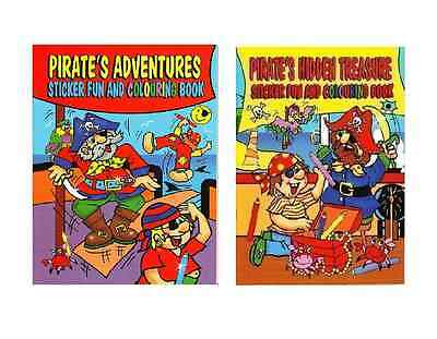SET OF 2 x A4 PIRATE SHIP STICKER & COLOURING BOOKS CHILDRENS ACTIVITY 4015R
