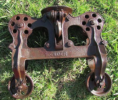 Vintage Leader Barn Hay Drop Pulley Block and Tackle Farm Trolley Tool Hoist Pat