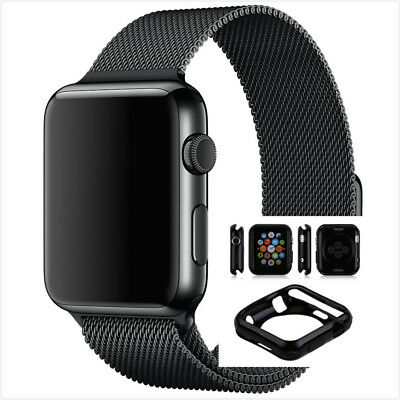 38mm Milanese Black Magnetic Stainless For Apple Watch Band With Case x1