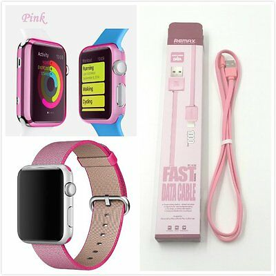 Apple Watch 42mm Bundle Pink Woven Nylon Wrist Band Strap Bracelet Case USB x 1