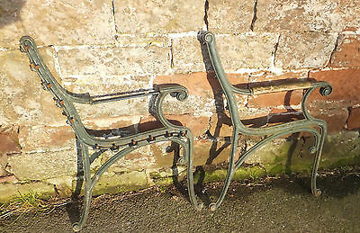 Pair CAST Iron BENCH ENDS Green Reclaimed GARDEN VINTAGE Style UPCYCLE