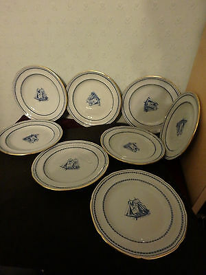"""Spode English Blue  China  """"tradewinds"""" 8 X 6"""" Plates All With Gold Trim"""