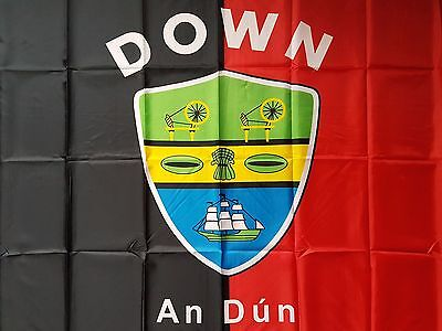 County Down Ireland Crested Gaa Hurling Flag  5Ft By 3Ft New