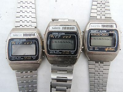 3 Vintage 1980's LCD SANYO CRONO MELODY ALARM watches for Parts