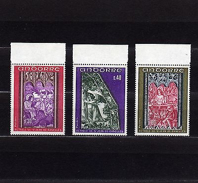 """Andorra French #199-201 Mnh """"the Revelation"""" From The Altar Of St. John"""