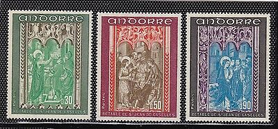 """Andorra French #207-209 Mnh """"the Revelation"""" From The Altar Of St. John"""