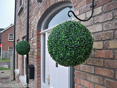 2 Best Artificial 38cm Green Boxwood Buxus Topiary Balls Hanging Basket Grass