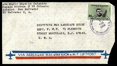 August 1, 1968 El Salvador Single Franked Cover To Montclair Nj USA