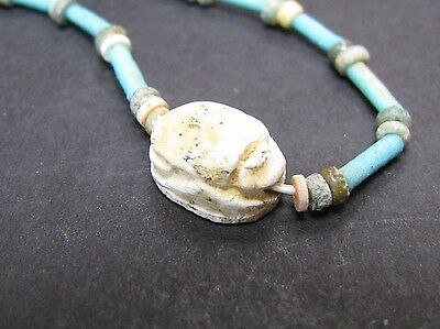 NILE  Ancient Egyptian Scarab Amulet Mummy Bead Necklace ca 1000 BC