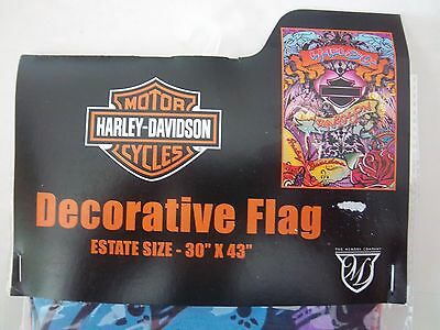 "PSYCHEDELIC HARLEY-DAVIDSON MOTORCYCLES DECORATIVE ESTATE SIZE 30"" x 43"" FLAG"