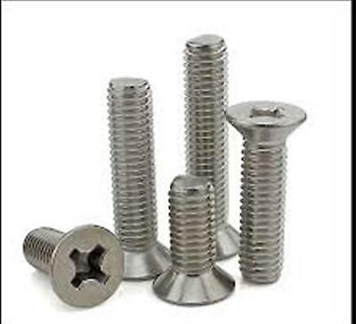 "Stainless Steel Flat Head Phillips Machine Screws NF 1/4-28 x 1"" Qty-25"