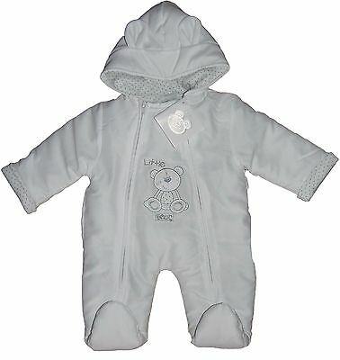 Unisex  Padded Snowsuit all in one White 3-6 Months last Few Priced to Clear