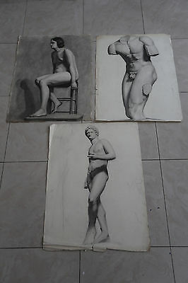 Job Lot Of 3 French Academic Life Drawings. Early To Mid 20Th C. Bargain.