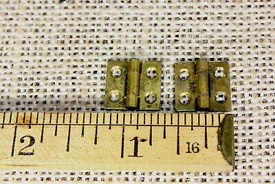 "8 very tiny small brass hinges old door butt 1/2 x 1/2"" antique vintage narrow"