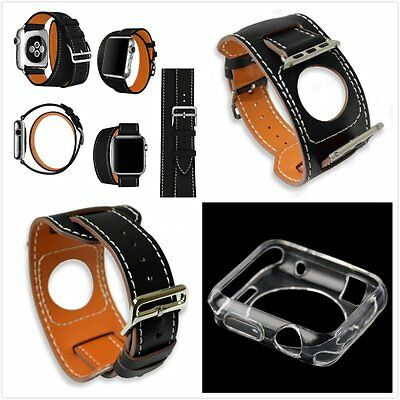 38mm Apple Black 4 in 1 Leather Cuff Bracelet Long Watch Band Strap Clear Case