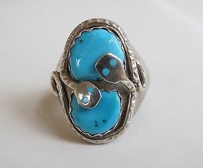 Effie Calavaza Sterling Silver perfect blue  Turquoise Snake Ring Size 12