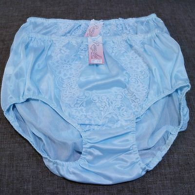 Vintage Style Briefs Blue Satin Like Nylon Knickers Sissy Panties Lingerie Lacy
